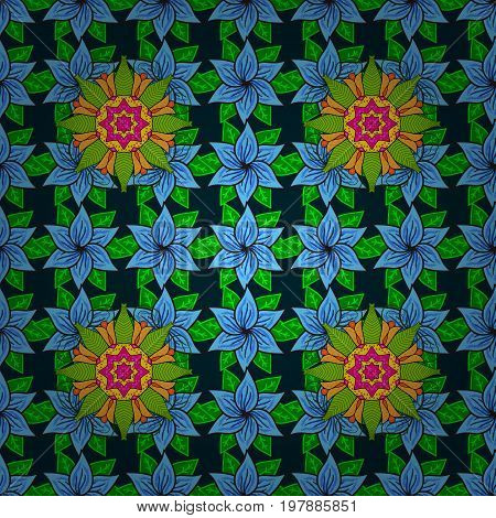 Flat Flower Elements Design. Colour Spring Theme seamless pattern Background. Fancy fabric pattern. Seamless Floral Pattern in Vector illustration.