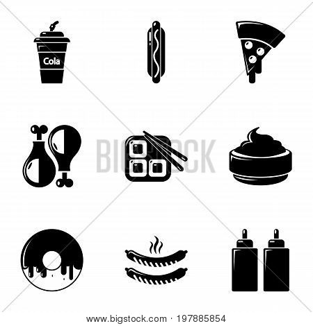 Unhealthy food icons set. Simple set of 9 unhealthy food vector icons for web isolated on white background