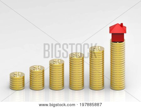 3d rendering. the stack of coin with small red home at the last stack. hoard money to buy property home concept.