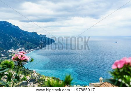 amazing view from Villa Rufolo Ravello town Amalfi coast in the cloudy day southern Italy.