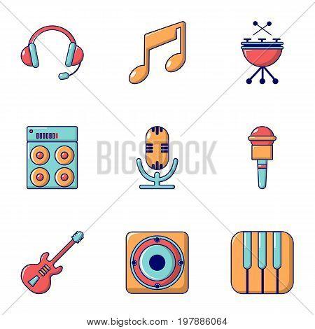 Electronic music icons set. Flat set of 9 electronic music vector icons for web isolated on white background