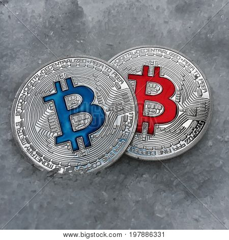 Blue And Red Bitcoin
