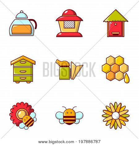 Honey production icons set. Flat set of 9 honey production vector icons for web isolated on white background