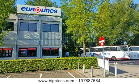 AMSTERDAM, NETHERLANDS. July 21, 2017. Eurolines bus company office in an Amsterdam suburb Duivendrecht with a bus coach station. Eurolines is a European low cost international bus company.