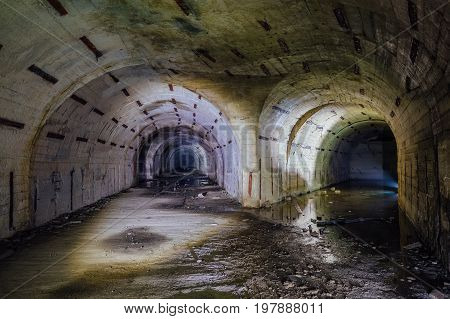 Tunnel fork at the Object 221, abandoned soviet bunker, reserve command post of Black Sea Fleet, Sevastopol