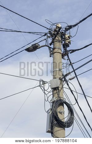 Concrete Electrical Pole With Street Lamp 2