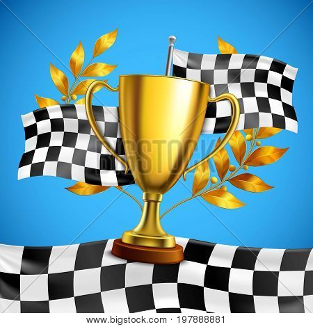 Gold race winner trophy with golden bay laurel wreath branches on checkered flag blue background vector illustration