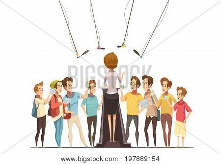 Group teenage boys with smartphones and tablets recording spokeswoman presentation in youth center retro cartoon vector illustration
