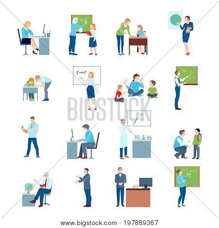 Secondary school teacher at chalkboard white board and by students desk flat icons collection isolated vector illustration