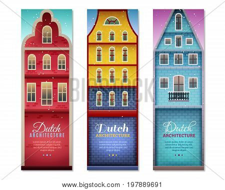 Dutch houses typical holland architecture and sightseeing for travelers 3 vertical colorful banners set isolated vector illusration