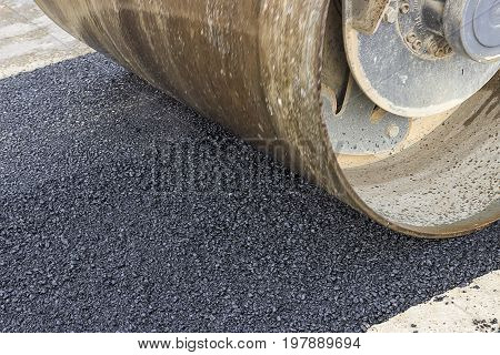 Detail Of Road Roller During Asphalt Patching Works