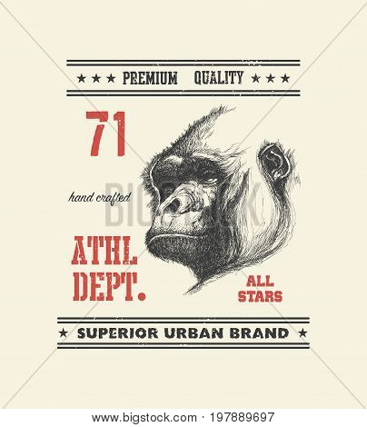 vintage urban typography with gorilla head, t-shirt graphics, vector illustration