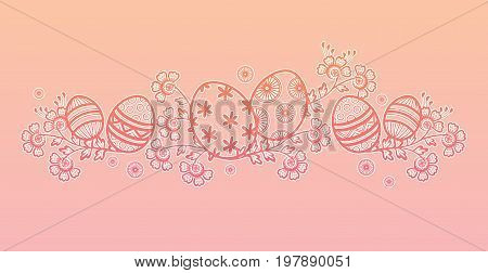 Decorative Easter design for a horizontal header or footer layout. Vector illustration.