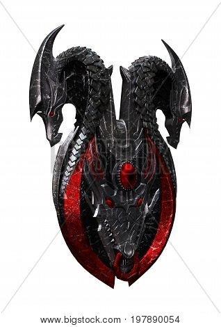3D rendering of a dragon shield isolated on white background