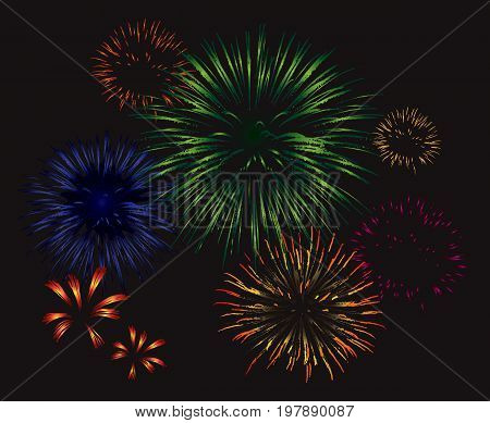 Vector fireworks exploding in the night sky. Set of different colored vector fireworks.