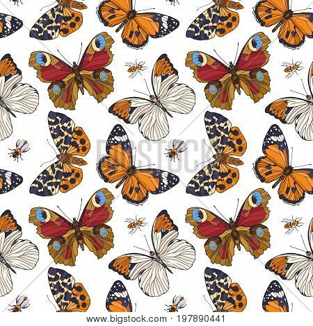 Butterflies and bees. Colorful seamless pattern, background.  Stock line vector illustration.