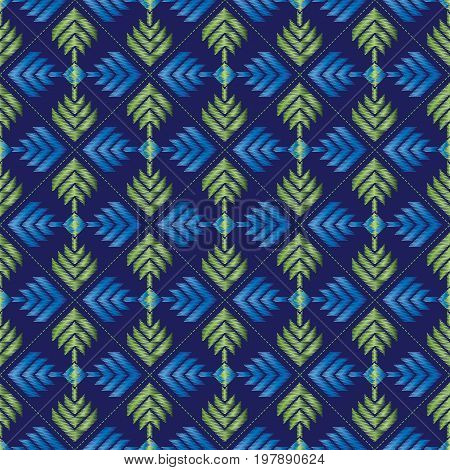 Seamless embroidered blue repeat pattern. Vector illustration.
