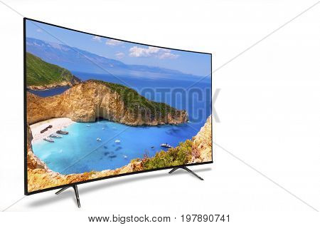 4k monitor isolated on white. Isometric view. TV, panoramic, isolated on white background. View of the bay of Navahio shipwreck, famous for its beauty throughout the world. island  Zakynthos Concept