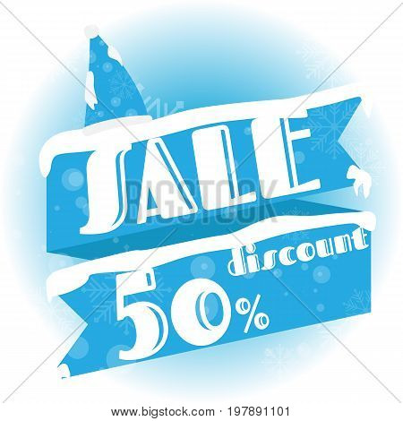 Winter sale. white and blue background and with a discount of 50 percent vector illustration