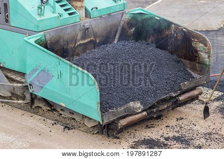 Front Of A Asphalt Laying Machine
