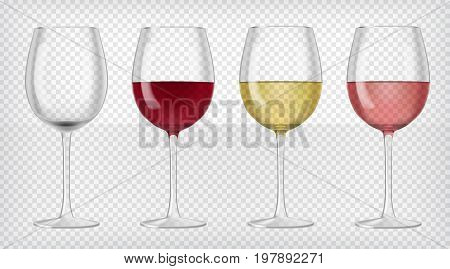 Set of realistic transparent wine glasses. Red, rose and white wine and an empty glass. Graphic design elements for advertisement, flyer, poster, web site, restaurant menu. Vector illustration.