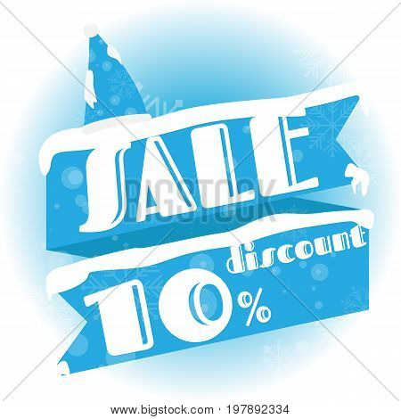 Winter sale. white and blue background and with a discount of 10 percent vector illustration