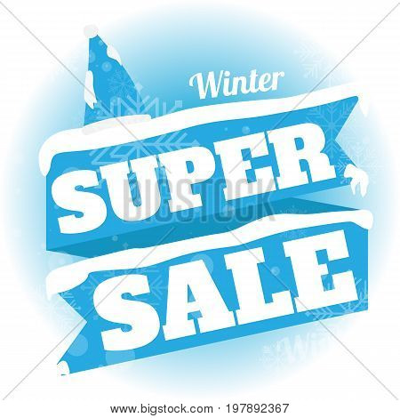 Winter sale. white and blue background and with a discount super sale vector illustration