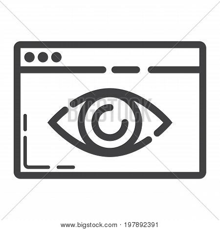 Web Visibility line icon, seo and development, browser sign vector graphics, a linear pattern on a white background, eps 10.