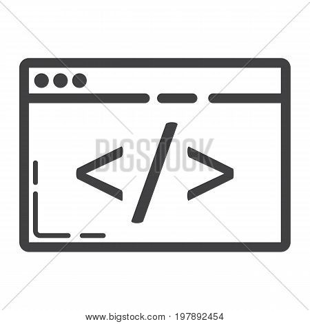 Custom coding line icon, seo and development, browser programming sign vector graphics, a linear pattern on a white background, eps 10.