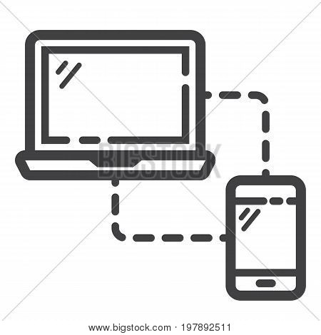 Responsive web design line icon, seo and development, sync devices sign vector graphics, a linear pattern on a white background, eps 10.