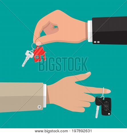 Hand holds metal key with keychain house and car key with alarm system. Buy, rental or lease a house or car. Vector illustration in flat style
