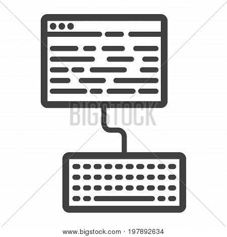 Copywriting line icon, seo and development, blogging sign vector graphics, a linear pattern on a white background, eps 10.