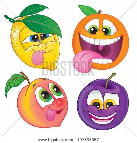 Cute cartoon fruit: Lemon orange peach or nectarine and plum. Vector illustration.