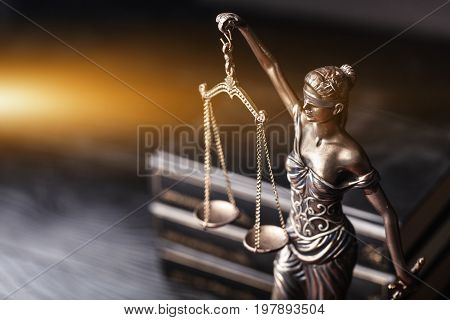 Symbol justice scales of justice criminal law goddess statue white background