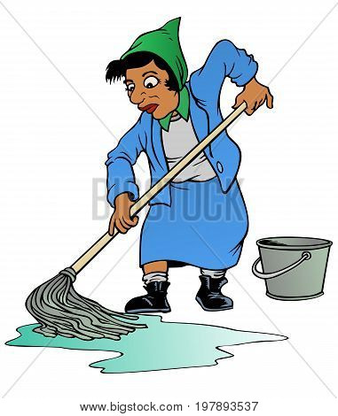 Tired woman using an old fashioned mop and bucket to clean