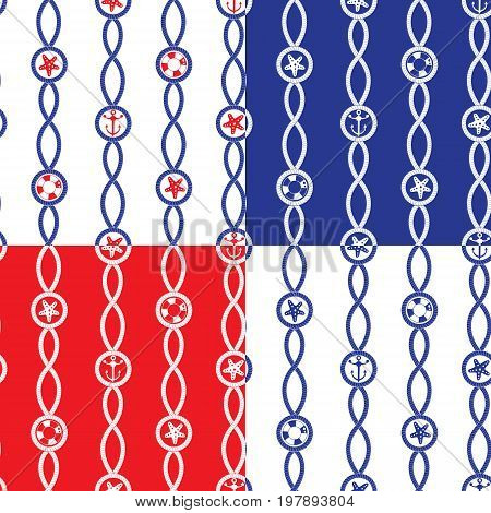 Set of Seamless nautical patterns on blue red white backgrounds with rope loop sea stars anchors lifebuoy. Marine design for summer season vacation travel. Fabric print. Repeating wallpaper.