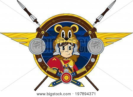 Cute Cartoon Ancient Roman Centurion Lion Soldier