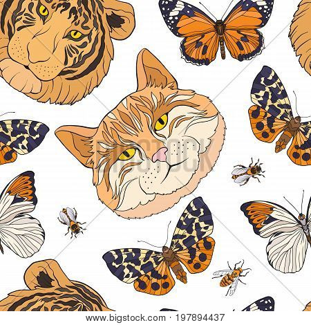 Tiger, cat, butterflies and bees. Colorful seamless pattern, background. Stock line vector illustration