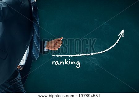 Increase ranking concept. Businessman (manager, coach,  leadership) hurry to increase ranking.