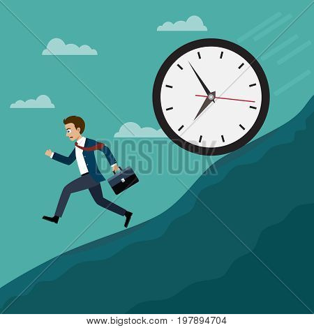 Businessmen run away from the big clock. Business concept, Flat style vector illustration.
