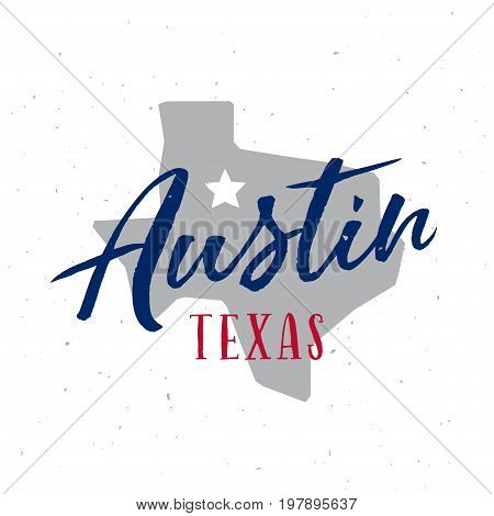 Austin Texas t-shirt design. Decorative design elements for prints, posters. Vector vintage illustration.