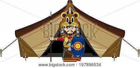 Cute Cartoon Ancient Roman Centurion Soldier and Tent