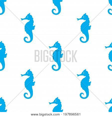 Hand drawn cartoon style sea horse seamless pattern. Blue color decorative print for kids clothes textile design. Vector illustration.