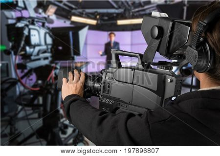 Man camera video color view holding person
