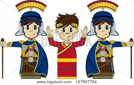 Cute Cartoon Ancient Roman Centurion Soldier and Emperor
