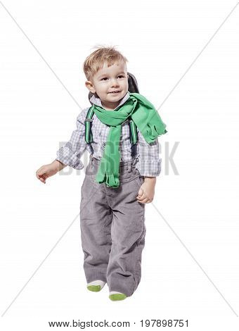 Two years Boy standing look up isolated on white