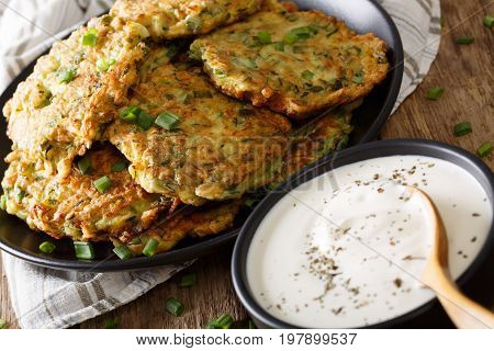 Summer Food: Zucchini Fritters With Sour Cream Close-up. Horizontal