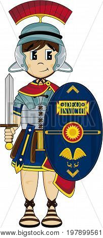 Cute Cartoon Ancient Roman Centurion Soldier Illustration