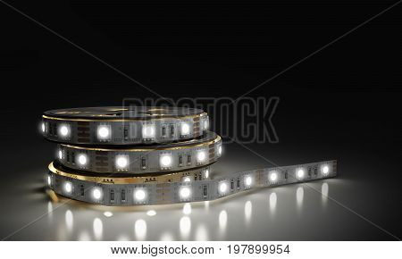 Diode Strip Led Lights Tape In Holder Close-up 3D Render On Glass Flor