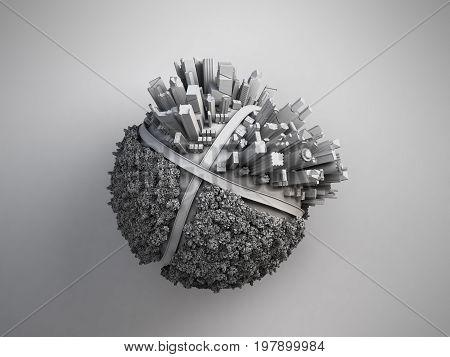 megalopolis aerial view 3d render image on grey